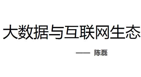 陈磊-大数据与互联网生态