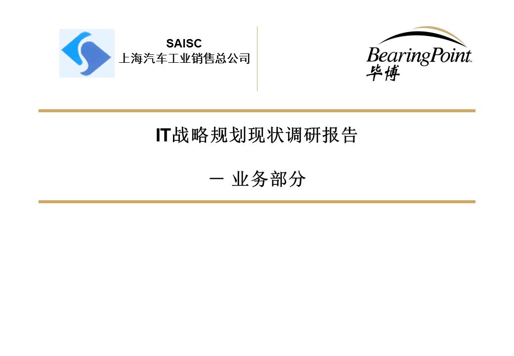 毕博-IT战略规划业务现状分析