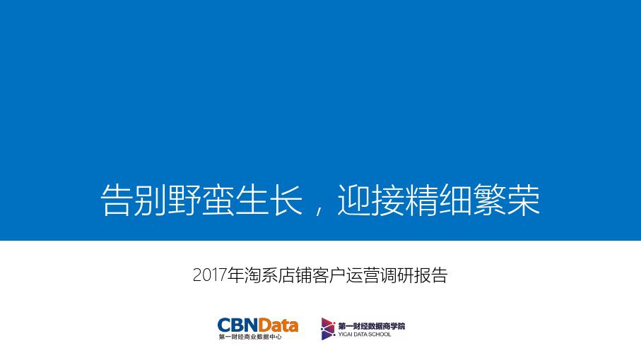 第一财经-2017年淘系店铺客户运营调研报告