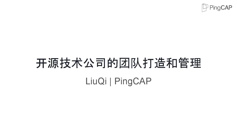 LiuQi-开源技术公司的团队打?和管理