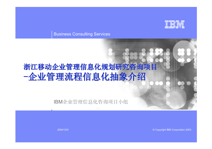 -浙江移动企业管理信息化规划研究报告-企业管理流程信息化抽象