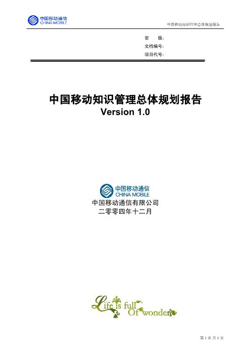 -中移动的知识管理咨询报告