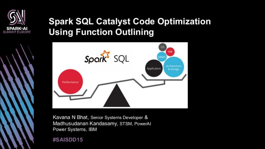 kavana bhat -spark sql catalyst code optimization using function outlining