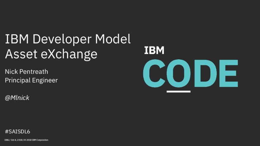 nick pentreat-ibm developer model asset exchange
