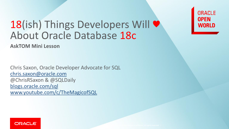 -18 Things Developers Will love about oracle database 18c