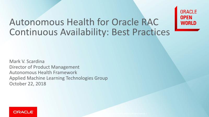-Autonomous Health for Oracle RAC Continuous Availability Best Practices
