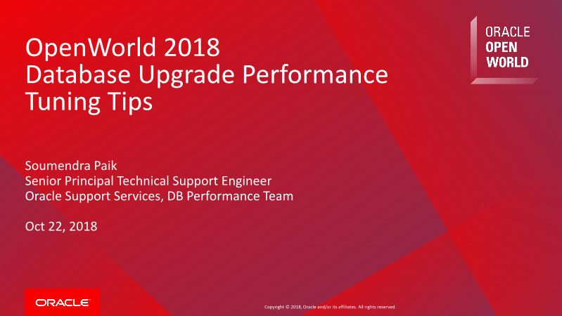 -Database Upgrade Performance Tuning Tips