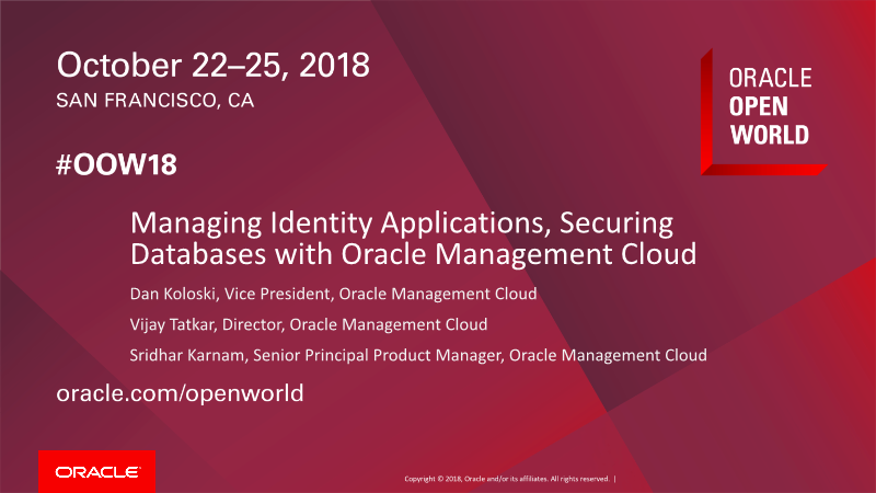 -Managing Identity Apps, Securing DBs with OMC