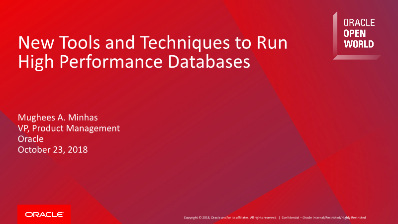 -New Tools and Techniques to Run High Performance Databases