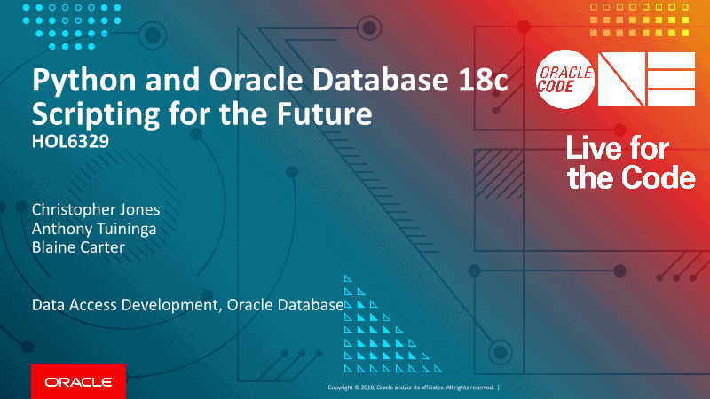 -Python and Oracle Database Scripting for the Future