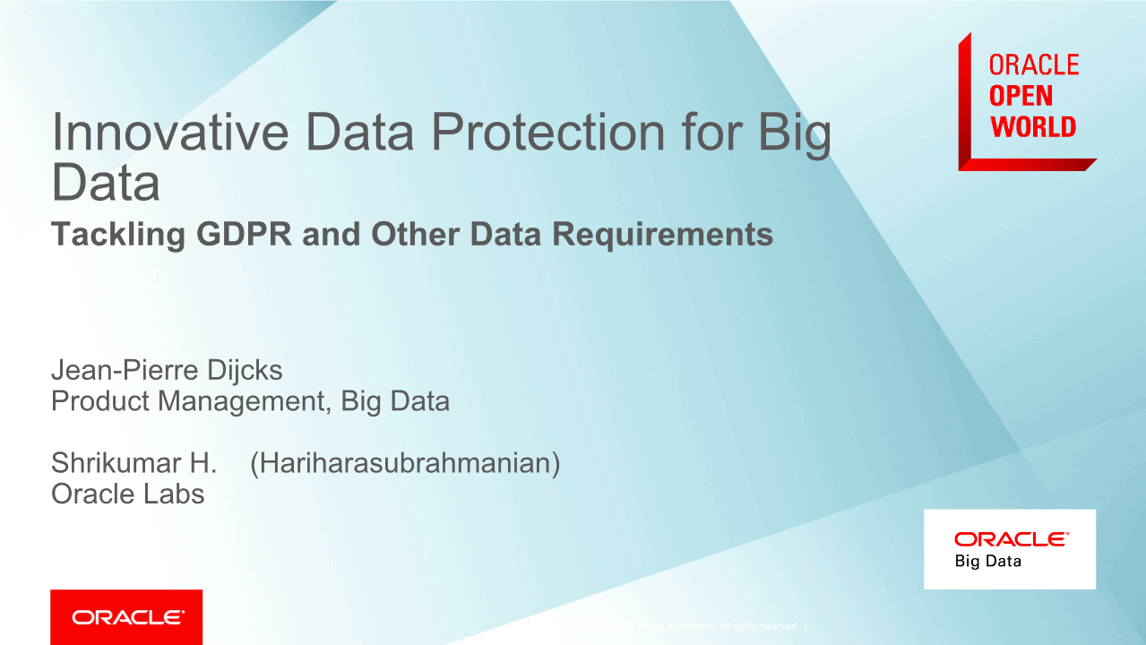Jean Pierre -Innovative Data Protection for Big Data