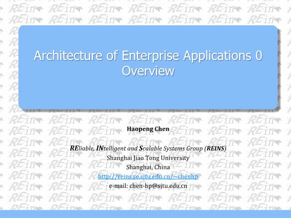 Chen Haopeng-Architecture of Enterprise Application