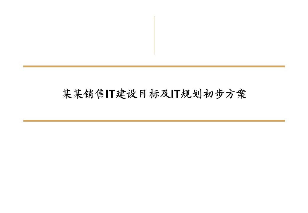 -某销售公司IT建设目标和初步规划