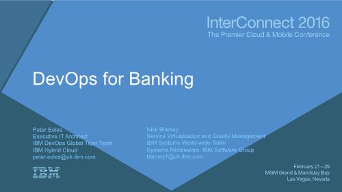 Peter Eeles -DevOps for Banking