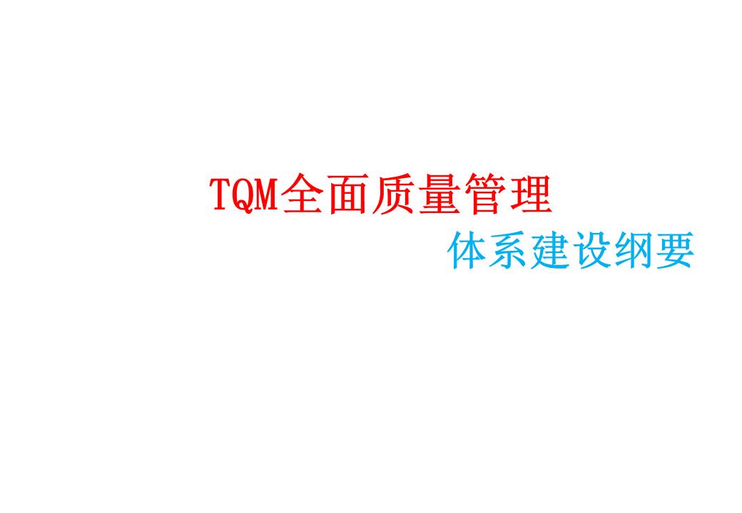 -TQM全面质量管理体系建设纲要
