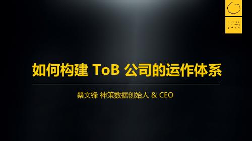 桑文锋-如何构建To B公司的运作体系