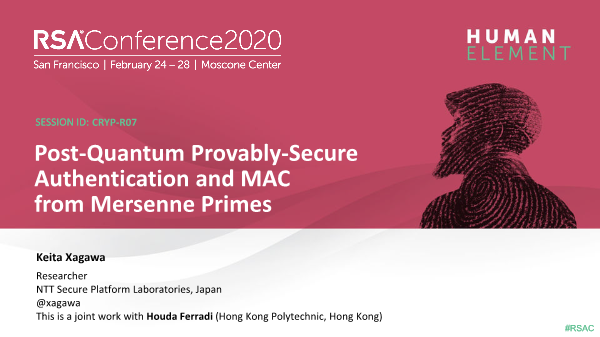 -Post Quantum Provably Secure Authentication and MAC from Mersenne Primes