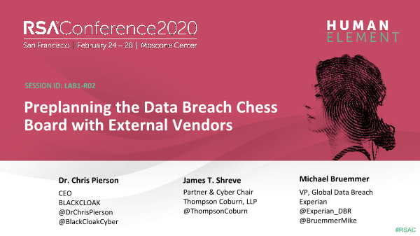 -Preplanning the Data Breach Chess Board with External Vendors