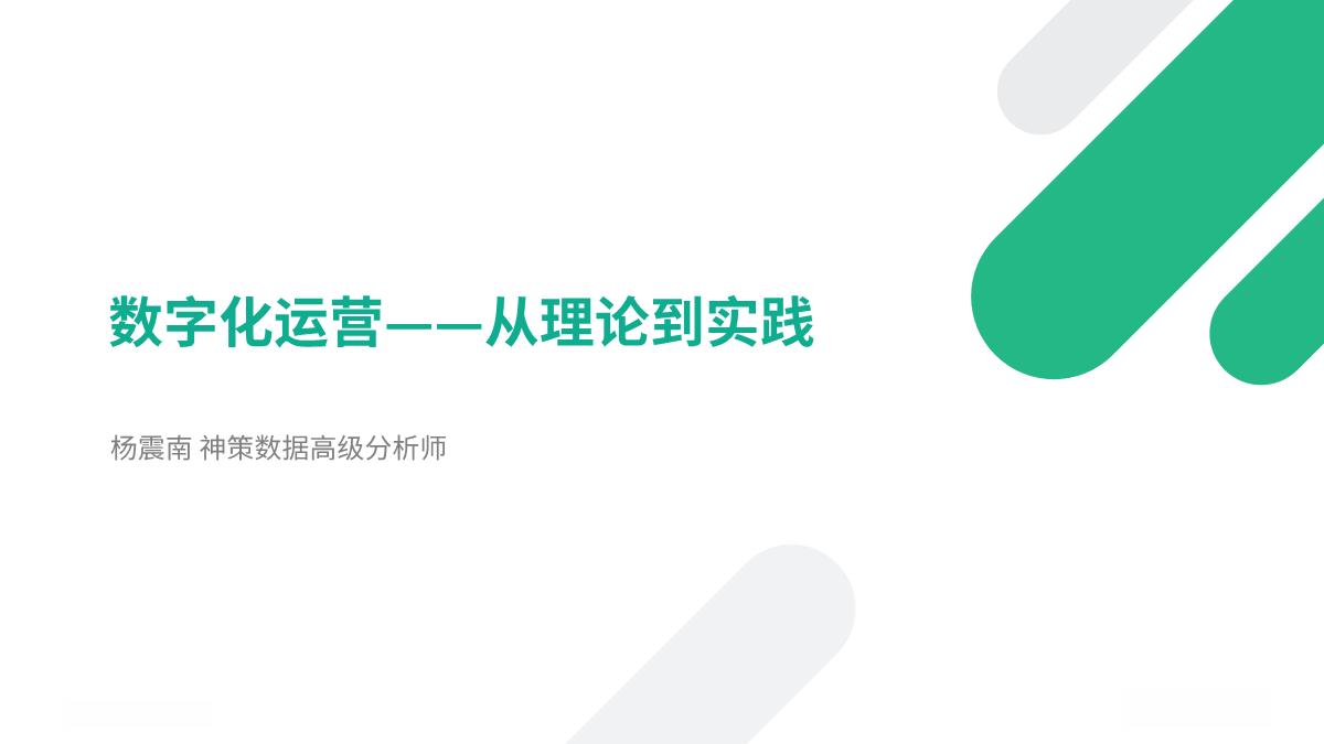杨震南-数字化运营从理论到实践
