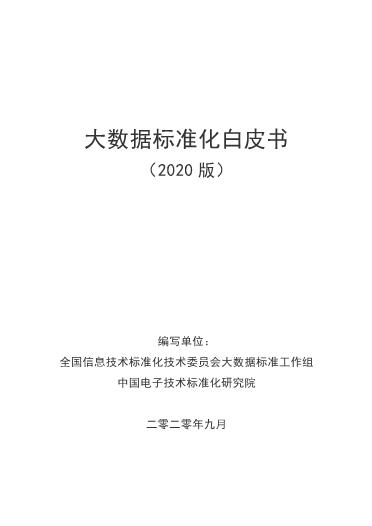 -2020年大数据标准化白皮书