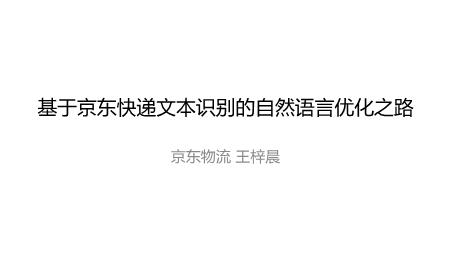 王梓晨-基于京东快递文本识别的自然语言处理优化之路