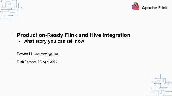 李锐-Production Ready Flink and Hive Integration