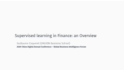 -Supervised learning in Finance an Overview
