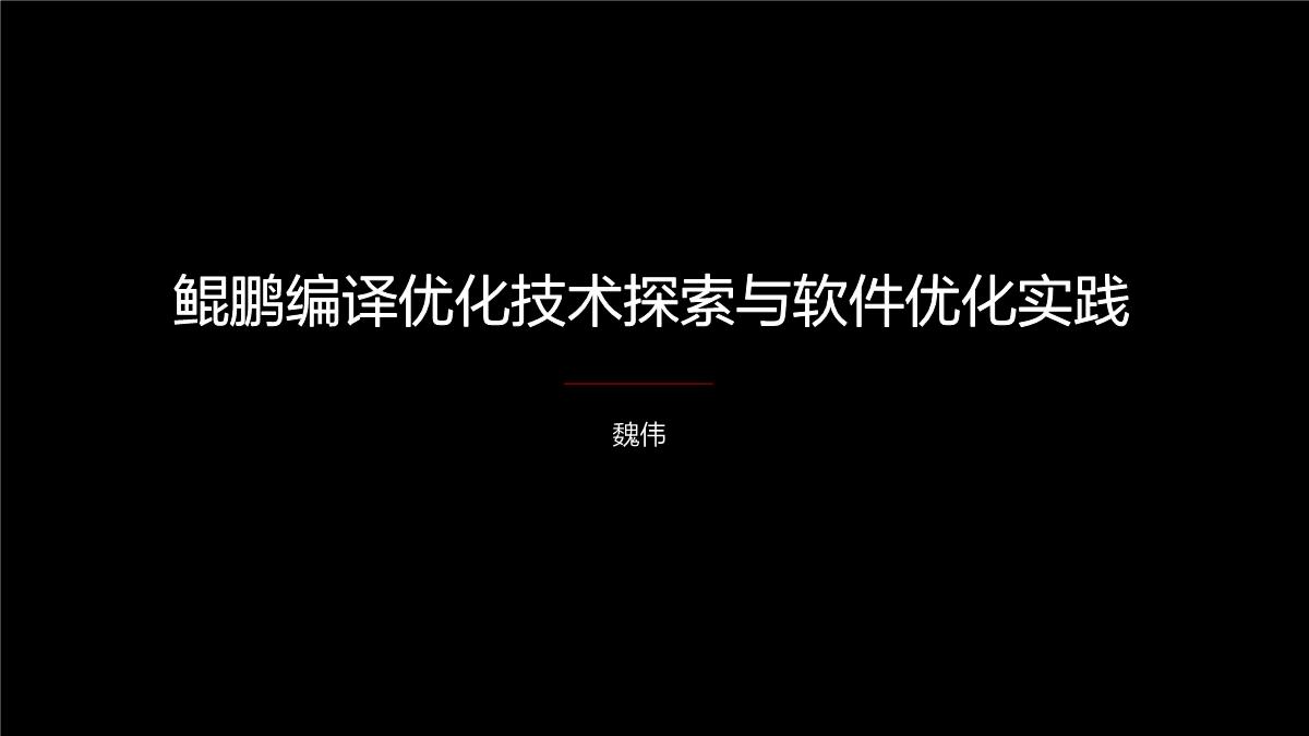 魏伟-鲲鹏编译优化技术探索与软件优化实践